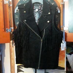 Forever 21 Genuine Leather Suede Fringed Moto Vest